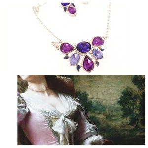 NWOT Necklace Earring Set Purple Gold